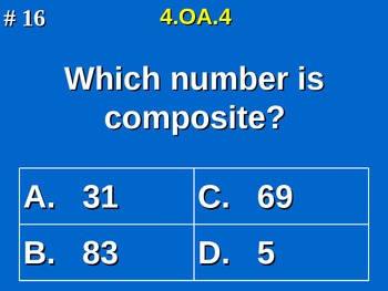 4th Grade Common Core Math - Whole Number Factor Pairs & Prime/Composite 4.OA.4
