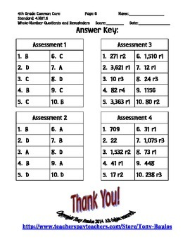 4th Grade Common Core Math - Whole-Number Quotients and Remainders 4.NBT.6 PDF