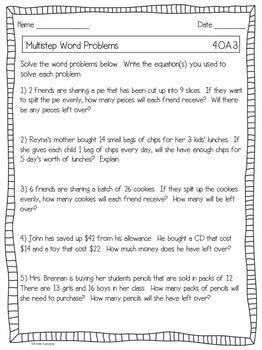 4th Grade Common Core Math Worksheets {ALL Standards}