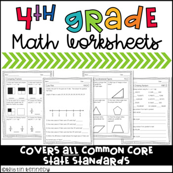 4th Grade Common Core Math Worksheets By Kristin Kennedy Tpt