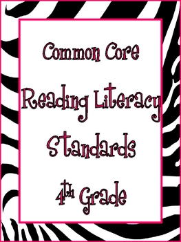 4th Grade Common Core Math and Reading Posters: Zebra Theme