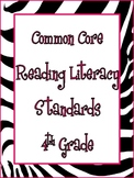 4th Grade Common Core Math and Reading Posters: Zebra Theme