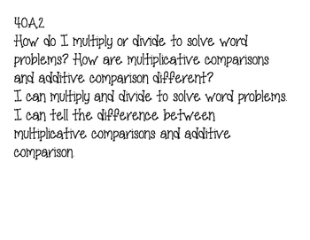 4th Grade Common Core MathEssential Questions and I can statements