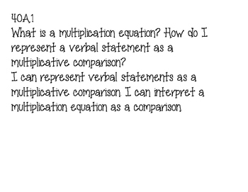 4th Grade Common Core MathEssential Questions and I can st