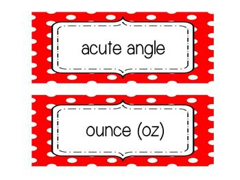 4th Grade Common Core Mathematical Vocabulary Word Wall Cards