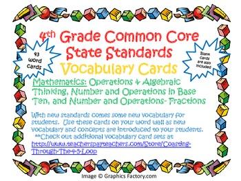 4th Grade Common Core Mathematics Vocabulary Cards Set 1