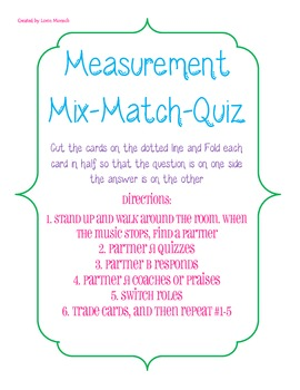 4th Grade Common Core Measurement Game- Mix and Match Quiz