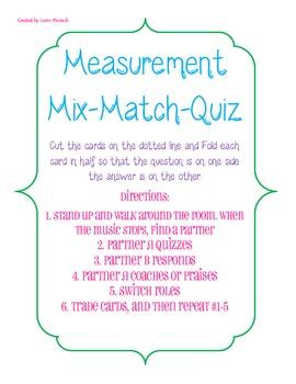 4th Grade Common Core Measurement Game- Mix and Match Quiz