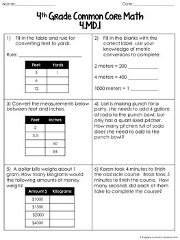 4th Grade Common Core Measurement and Data Pack (4.MD)