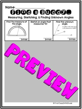 4th Grade Common Core Measuring, Sketching, & Unknown Angles (Find a Buddy)