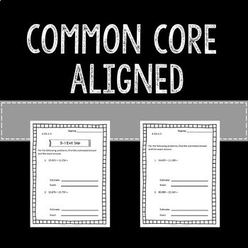Multi-step Word Problems Math Exit Slips Assessments 4th Grade Common Core