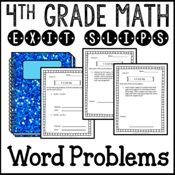 Multi-step Word Problems Math Exit Slips Assessments 4th G