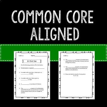 Multiplication Math Exit Slips or Assessments 4th Grade Common Core