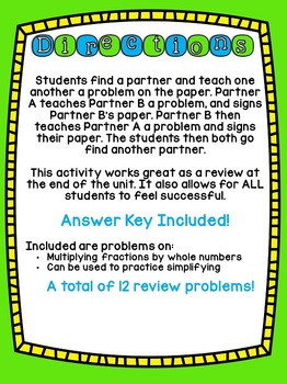 4th Grade Common Core Multiplying Fractions (Find a Buddy)