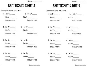 Place Value Math Tasks and Exit Tickets