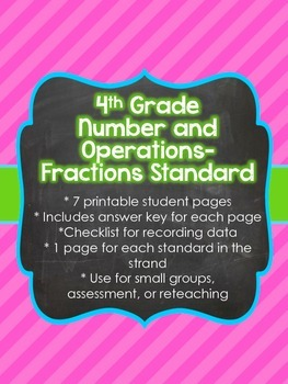 4th Grade Common Core Number and Operations-Fractions Sheets (4.NF)