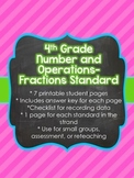 4th Grade Common Core Number and Operations-Fractions Shee