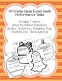 4th Grade Common Core Autumn Math Task Assessment Bundle!