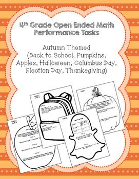 4th Grade Common Core Autumn Math Task Assessment Bundle!