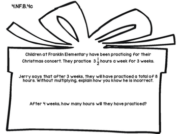 4th Grade Common Core Open Ended Christmas Math Assessment Task (Gift/Carols)