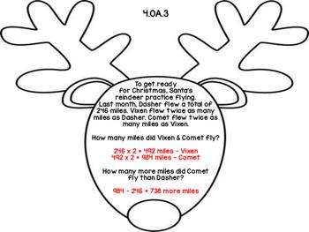 4th Grade Common Core Open Ended Christmas Math Assessment Task (Reindeer)