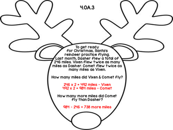 4th Grade Common Core Open Ended Christmas Math Assessment Task (Reindeer)