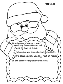 4th Grade Common Core Open Ended Christmas Math Assessment Task (Santa)