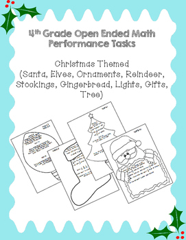4th Grade Common Core Open Ended Christmas Math Assessment Task Bundle
