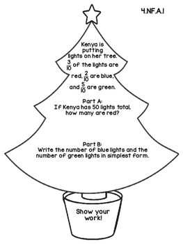 4th Grade Common Core Open Ended Christmas Math Assessment Task (Tree)