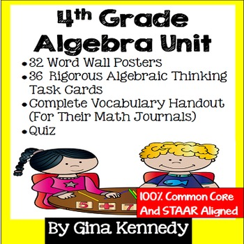 4th Grade Algebra Unit, Handouts, Word Wall, Task Cards and Assessment