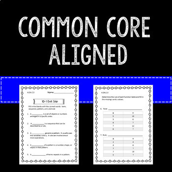 Patterns Math Exit Slips or Assessments 4th Grade Common Core