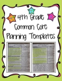 4th Grade Common Core Planning Templates