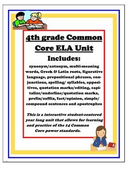 4th Grade Common Core ELA Yearlong Review
