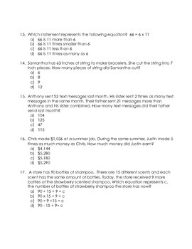 4th Grade Common Core Practice Test Operations and Algebraic Thinking