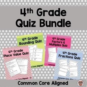 4th Grade Common Core Quiz Bundle