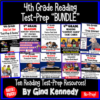 4th Grade Reading Test-Prep BUNDLE, Reading Skills Review For the Entire Year!