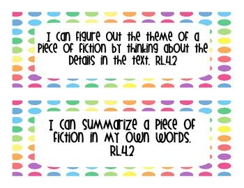 "4th Grade Common Core Reading ""I Can"" Statements Bright Dots"