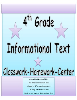 4th Grade Common Core Reading Informational Text Organizers with QR Codes