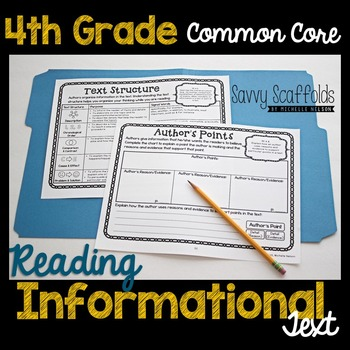 4th Grade Reading Informational Text Graphic Organizers for Common Core