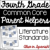 4th Grade Common Core Reading Literature Parent Helper -also in Spanish