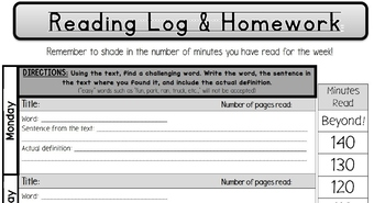 4th Grade Common Core Reading Log Homework Assignments