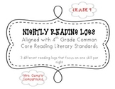 4th Grade Common Core Reading Logs