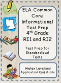 4th Grade Common Core Reading/ELA Test Prep RI1 and RI2