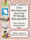 4th Grade Common Core Reading/ELA Test Prep RI3 and RI4