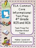 4th Grade Common Core Reading/ELA Test Prep RI5 and RI6