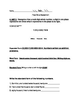 4th Grade Common Core Rounding Assessment