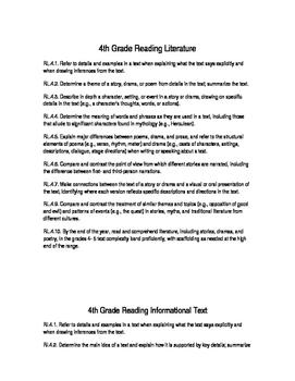 4th Grade Common Core Standards