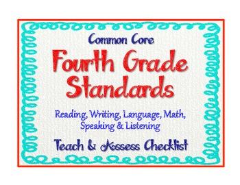 "4th Grade Common Core Standards - ELA & Math ""Teach & Assess"" Checklist"