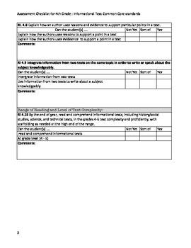 4th Grade Common Core Standards Information Text Checklist