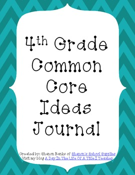 4th Grade Common Core Standards Journal for Teacher Blue Chevron